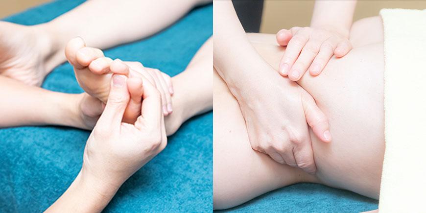 足やウエストのマッサージを受ける女性